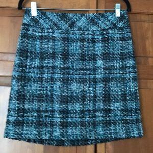 LOFT teal black white tweed skirt-size 4P-NEW